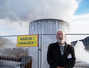 jim motavalli at geothermal energy plant in iceland