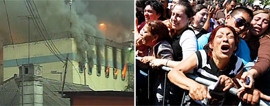 La prisión de San Miguel en Santiago, en llamas el 8 de diciembre de 2010. Al menos 81 reos murieron y otros 14 resultaron heridos en la cárcel de San Miguel en la capital chilena en un voraz incendio que se desató en la madrugada de este miércoles después de una pelea entre internos, informaron este miércoles autoridades. Foto:ho/AFP