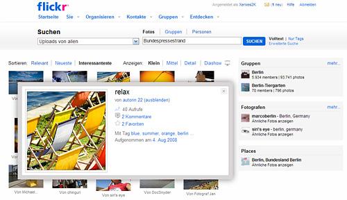 Bild der neuen Flickr Suche