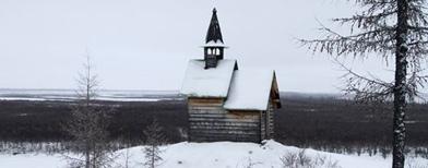 Pequeña capilla de la Estación Científica del Noreste, próxima a Chersky, ciudad siberiana que pasa ocho meses al año sepultada bajo la nieve y el hielo, y que alguna vez albergó prisiones del Gulag, donde eran encerrados los enemigos del Kremlin/(Foto AP.