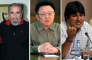 Fidel Castro, Kim Jon-Il y Evo Morales/Archivo de AP