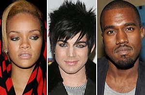 Rihanna, Adam Lambert, Kanye West / Wireimage