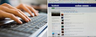 Mujer en una computadora y captura de pantalla de un perfil de Facebook / Fotos: iStockphoto y AP