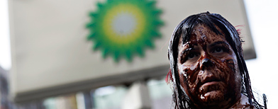 Protesta en BP / AP