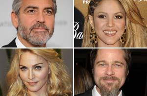 George Clooney, Shakira, Madonna y Brad Pitt / WireImage