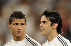Cristiano y Kaká juntos en un amistoso. Foto: AP