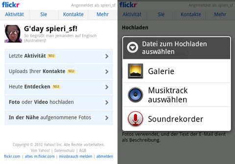 Screenshots der Flickr Mobile Seite unter Android 2.2