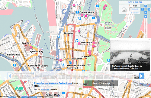 Click the map to zoom in on geotagged photos from the Powerhouse Museum