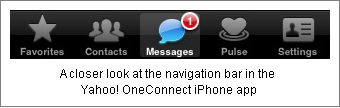 Yahoo! oneConnect navigation bar