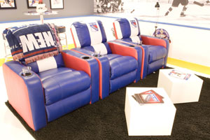 These hockey-themed New York Rangers chairs were featured on the TV show 'Man Caves'