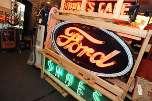 Neon signs are a popular man cave touch for art. Alex Bellus.