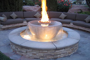 Water Feature With Fire