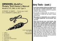 Dremel Multipro's rotary tools