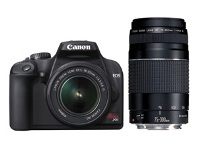 Canon Rebel XS DSLR with 18-55mm kit lens and EF 75-300mm telephoto lens
