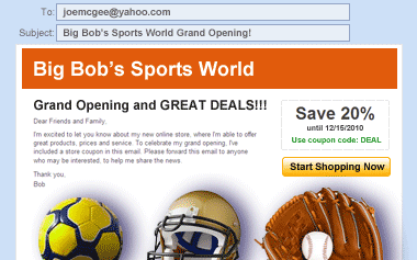 A screenshot of a grand-opening email