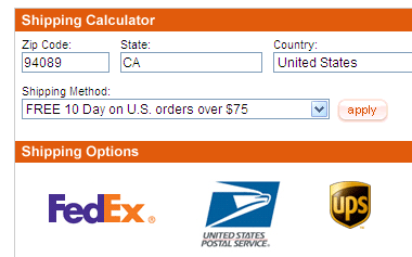 A screenshot of an online shipping calculator