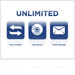 Get unlimited data transfer, disk space, and email storage