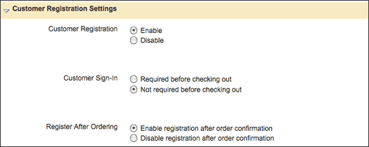 Enable Customer Registration in the Global Settings section of Checkout & Registration Manager.