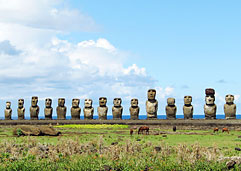 Stone monoliths on Easter Island