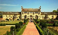 Gateway to the entrance of Bara Imambara, a palace complex containing an elaborate maze in Lucknow, India.