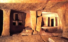 The interior of a megalithic temple on   Malta.