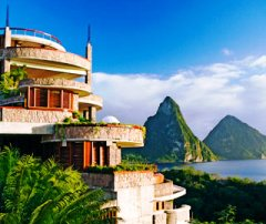 The resort of Jade Mountain on St. Lucia