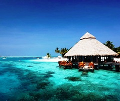 An over-the-water bungalow on Rangali Island, The Maldives