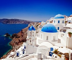 White-washed walls atop Santorini, Greece