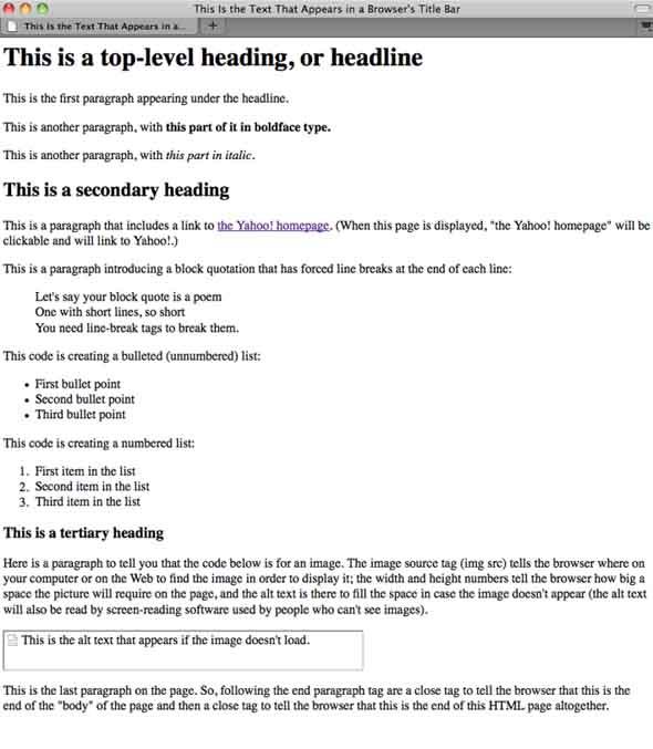 Sample HTML in Firefox
