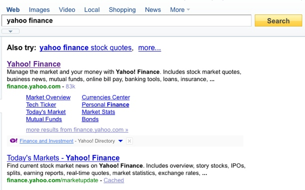 Search engine optimization: a search for 'yahoo finance'