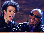 Kevin Jonas, left, of the Jonas Brothers performs with Stevie Wonder at the 51st Annual Grammy Awards on Sunday, Feb. 8, 2009, in Los Angeles. (AP Photo/Mark J. Terrill)