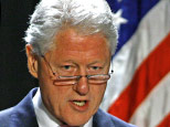 In this file photo taken Saturday, June 13, 2009, former President Bill Clinton speaks during the American-Arab Anti-Discrimination Committee gala banquet dinner in Washington. (AP Photo/Jose Luis Magana, File)