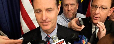 Sen. Evan Bayh, D-Ind., speaks with reporters after a news conference. (AP/AJ Mast)