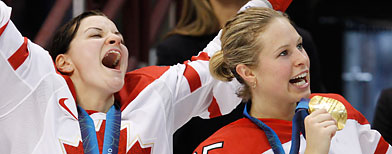 Canada's Sarah Vaillancourt, left, and Tessa Bonhomme. (AP Photo/Gene J. Puskar)