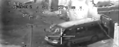 Frame grab from video shot from a U.S. army Apache helicopter gunsight July 12, 2007. (AP/Wikileaks.org)