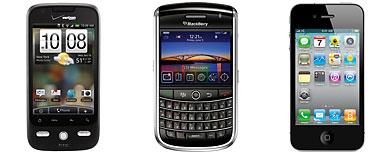 (L-R) Droid-X (HTC); Blackberry Tour (Research in Motion/AP); iPhone 4 (Apple)