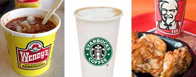 Wendy's chili (AP)/ Starbucks Latte (Yahoo!  Shine)/KFC grilled chicken (AP)