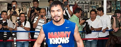 World champion boxer Manny Pacquiao media day before his Margarito fight at the Wild Card Gym on October 27th, 2009 in Hollywood, California. (Photo by Landry Major/Getty Images)