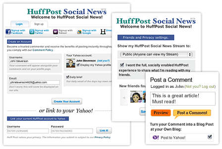 Huffington Post Social News with Post to Yahoo! option