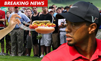 Man throws Hot Dog at Tiger Woods