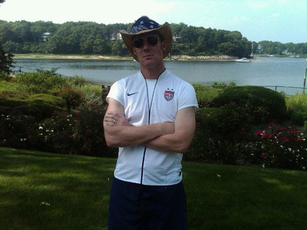 This is Alexi Lalas in a USWNT shirt and cowboy hat