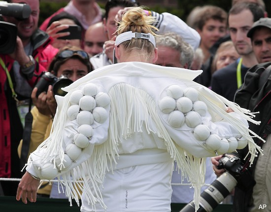 Mattek-Sands arrives at Wimbledon match in Gaga-esque jacket