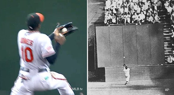 Must see: Adam Jones evokes Willie Mays with over-shoulder catch