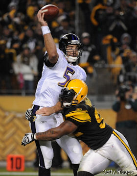 Did the Heinz Field scoreboard call Joe Flacco a little girl?