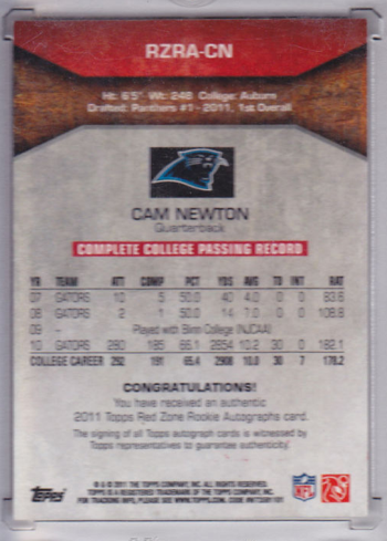 A step ahead of the NCAA? Trading card says Newton never played for Auburn