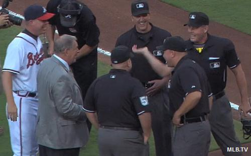 One last time: Bobby Cox gets heave-ho after ceremonial first pitch