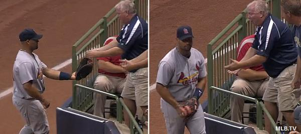Such a tease: Albert Pujols taunts, denies Brewers fan a souvenir