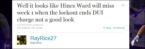 Ray Rice jabs Hines Ward about his DUI