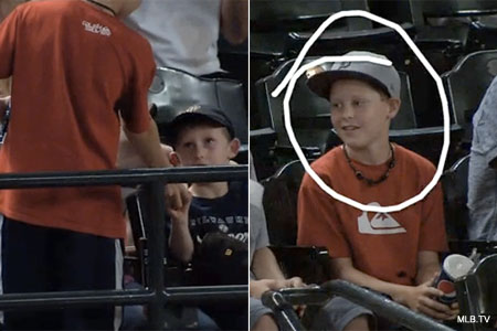 Play of the day! Selfless young fan returns ball to upset boy