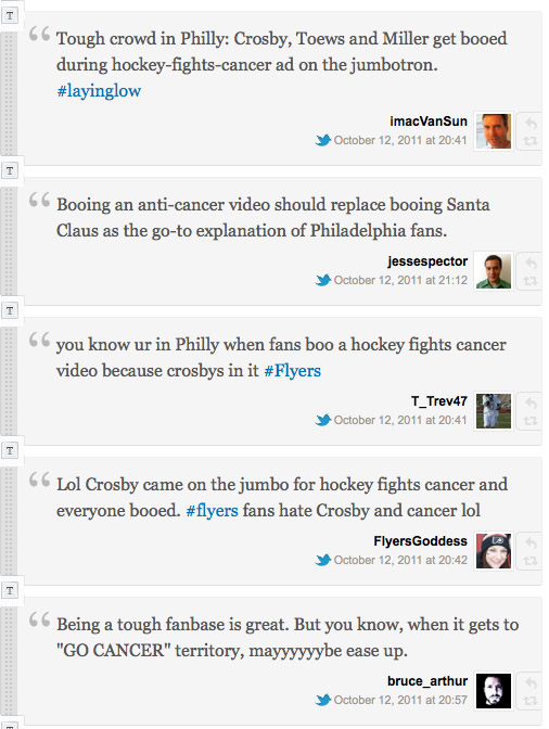 Flyers fans boo rivals; alas, it's during an anti-cancer commercial